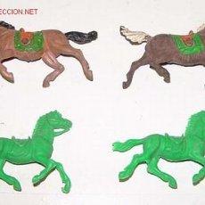 Figuras de Goma y PVC: ANTIGUAS FIGURAS DE 4 CABALLOS . Lote 2300198
