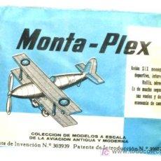 Figuras de Goma y PVC: SOBRE MONTA PLEX MONTAPLEX 1967 AVION SIX MONOPLAZA. Lote 107892914