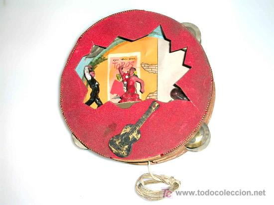 Figuras de Goma y PVC: Rara pandereta con dos bailaores , flamenco, toros, años 60. - Foto 2 - 10942438