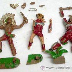 Figuras de Goma y PVC: 3 INDIOS ROTOS DE PLÁSTICO DE COMANSI AÑOS 60 CON LAS PIEZAS. Lote 9257737