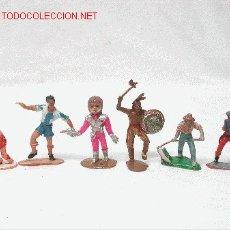 Figuras de Goma y PVC: 6 FIGURAS DE PLÁSTICO INDIO VAQUEROS Y OTROS COMANSI MECÁNICO SCALEXTRIC. Lote 1983164