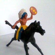 Figuras de Goma y PVC: SOTORRES, INDIO + CABALLO REF.2818. Lote 38336802