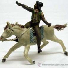 Figuras de Goma y PVC: VAQUERO DE TEIXIDÓ EN GOMA CON CABALLO DE JECSAN EN PLÁSTICO AÑOS 50. Lote 11067637