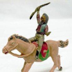 Figuras de Goma y PVC: VAQUERO DE TEIXIDÓ EN GOMA CON CABALLO DE JECSAN EN PLÁSTICO AÑOS 50. Lote 11067696
