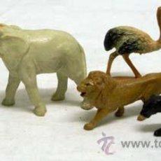 Figuras de Goma y PVC: CINCO ANIMALES DE CLAIRET FRANCIA DOS ELEFANTE AVESTRUZ PANTERA Y LEÓN EN PLÁSTICO DURO AÑOS 50. Lote 11433126