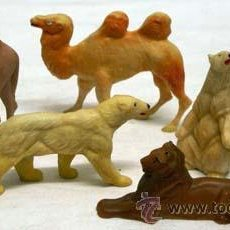 Figuras de Goma y PVC: SEIS ANIMALES DE CLAIRET FRANCIA 2 CAMELLO DROMEDARIO 2 OSO POLAR Y LEÓN PLÁSTICO DURO AÑOS 50. Lote 11433216