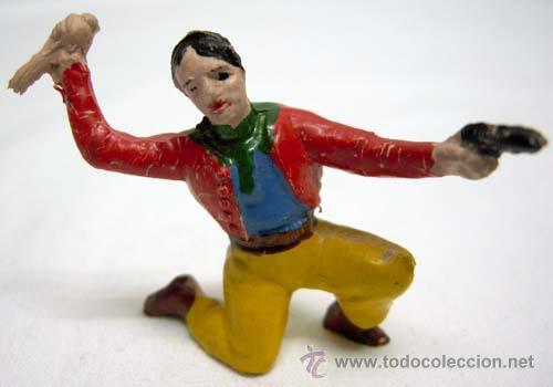 VAQUERO RODILLA A TIERRA DE CAPELL EN GOMA AÑOS 50 (Juguetes - Figuras de Goma y Pvc - Capell)