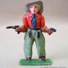 Figuras de Goma y PVC: FIGURA FRANCIA MUJER VAQUERO COW BOY STARLUX ? CLAIRET ? . Lote 13227399