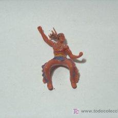 Figuras de Goma y PVC: INDIOS Y VAQUEROS ANTIGUOS PINTADOS A MANO. Lote 16999132