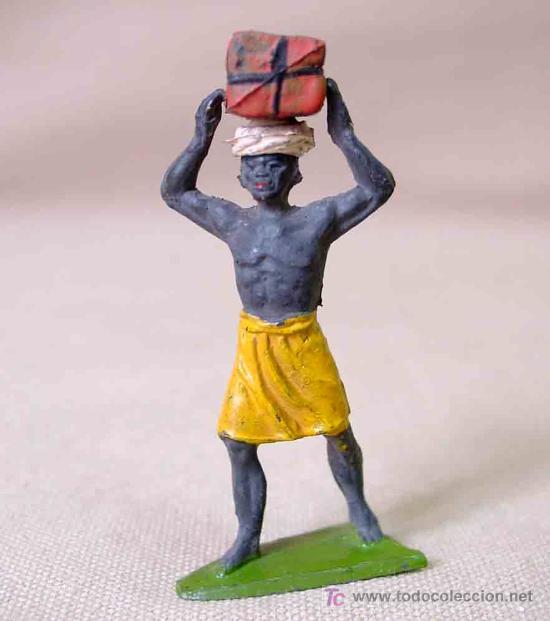 Figuras de Goma y PVC: FIGURA GOMA PORTEADOR CAJA (PETATE) Y TURBANTE SERIE SAFARI JECSAN - Foto 3 - 17119291