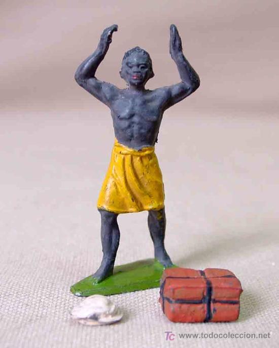 Figuras de Goma y PVC: FIGURA GOMA PORTEADOR CAJA (PETATE) Y TURBANTE SERIE SAFARI JECSAN - Foto 2 - 17119291