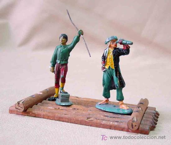 Figuras de Goma y PVC: 2 FIGURAS PIRATAS DE GOMA # P - 12 Y P - 8 Y BALSA PIRATA P -13 FABRICADOS POR PECH, - Foto 2 - 13739345