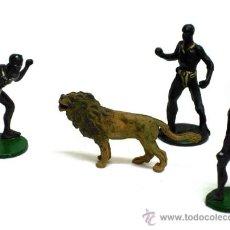 Figuras de Borracha e PVC: TRES NEGROS Y LEÓN DE GAMA EN GOMA AÑOS 50. Lote 20685221