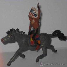 Figuras de Goma y PVC: ANTIGUO INDIO A CABALLO DE GOMA. PUEDE SER LAFREDO, ETC. DE CONSERVACION, TAL COMO SE VE. Lote 13808298