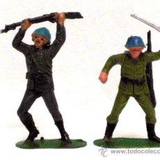 Figuras de Goma y PVC: 2 SOLDADOS JAPONESES CASCOS AZULES JECSAN PLÁSTICO AÑOS 70. Lote 13893010