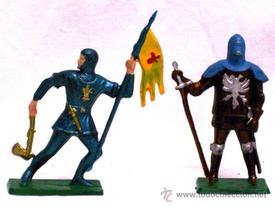 Figuras de Goma y PVC: 6 Medievales a pie de Starlux años 60 - Foto 2 - 14659142