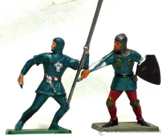 Figuras de Goma y PVC: 6 Medievales a pie de Starlux años 60 - Foto 3 - 14659142