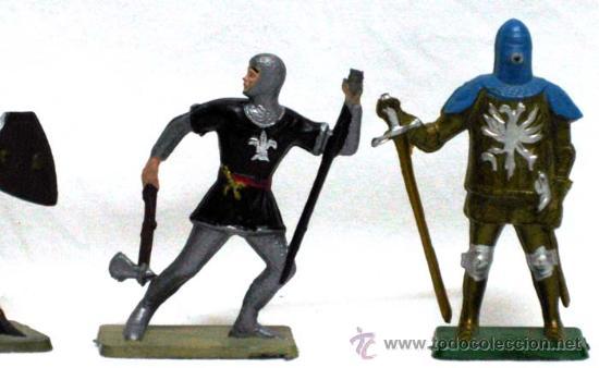 Figuras de Goma y PVC: 6 Medievales a pie de Starlux años 60 - Foto 5 - 14659142