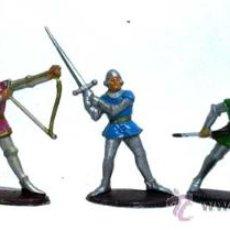 Figuras de Goma y PVC: 5 MEDIEVALES DE QUIRALU AÑOS 60. Lote 14660895