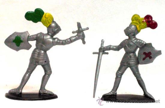 2 MEDIEVALES A PIE DE QUIRALU AÑOS 60 (Juguetes - Figuras de Goma y Pvc - Quiralu)