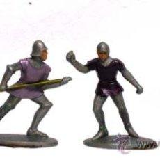 Figuras de Goma y PVC: 4 MEDIEVALES A PIE DE QUIRALU AÑOS 60. Lote 14660981