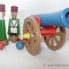 Figuras de Goma y PVC: CAÑON Y SOLDADOS EN MADERA. Lote 24308680