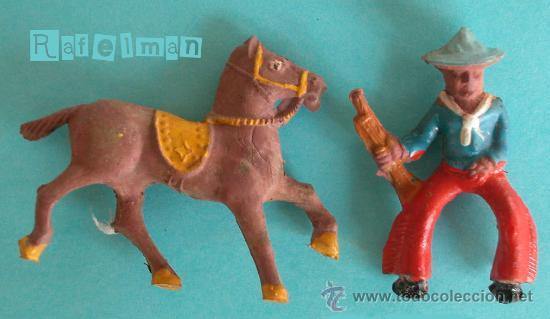 CAPELL - FIGURAS GOMA AÑOS 50 - COWBOY CON CABALLO - MINIFIGURAS (Juguetes - Figuras de Goma y Pvc - Capell)