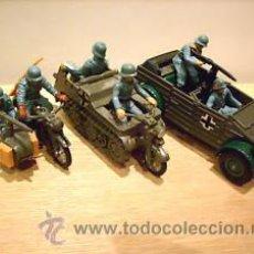 Figuras de Goma y PVC: KUBELWAGEN, KETTENKRAD, MOTO SIDE CAR + ¡¡REGAL BMW! BRITAINS DEETAIL1971 SOLDADITOS, ESPECTACULAR. Lote 16653060