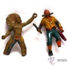 Figuras de Goma y PVC: 4 FIGURAS ROTAS: 2 INDIOS PECH, PIRATA CREACIONES PLÁSTICAS, INDIO SOTORRES AÑOS 60. Lote 17234122