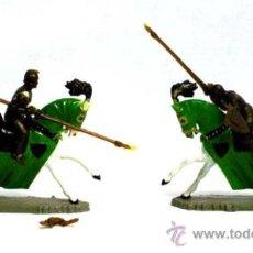 Figuras de Goma y PVC: 2 MEDIEVALES A CABALLO DE STARLUX SERIE TORNEO 4 CM AÑOS 60. Lote 17360737