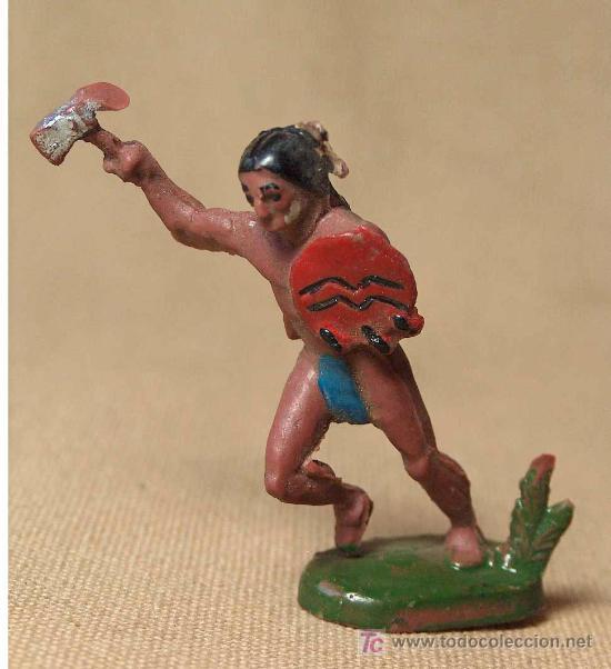 Figuras de Goma y PVC: FIGURA DE GOMA, INDIO CON TOMAHO, FABRICADO POR ASTER, - Foto 2 - 19814671