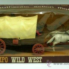 Figuras de Goma y PVC: CARAVANA OESTE TIMPO WILD WEST CHUCK WAGON EN PLÁSTICO CON SU CAJA AÑOS 70. Lote 25433441