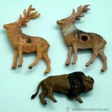 Figuras de Goma y PVC: 3 ANIMALES DE PECH 2 CIERVOS Y BISONTE EN PLÁSTICO Y GOMA. Lote 26065111