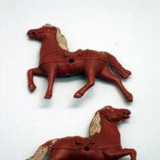 Figuras de Goma y PVC: 2 CABALLOS CARAVANA DILIGENCIA DE SOTORRES PLÁSTICO AÑOS 50. Lote 26084593