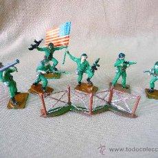 Figuras de Goma y PVC: 6 FIGURAS DE PLASTICO, PECH HERMANOS, SOLDADOS AMERICANOS, SERIE AMERICANOS EN COMBATE, MARINE. Lote 26187620