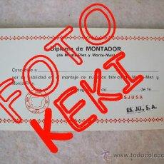 Figuras de Goma y PVC: DIPLOMA DE MONTADOR MONTAPLEX Y MONTA-MAN - OJO! SELLO ESJUSA - DIFICIL Y DESCONOCIDO. Lote 55617203