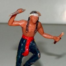 Figuras de Goma y PVC: ANTIGUA FIGURA DE INDIO DEL OESTE - TEIXIDO, ..TAL COMO SE VE EN LA FOTO. . Lote 27021577