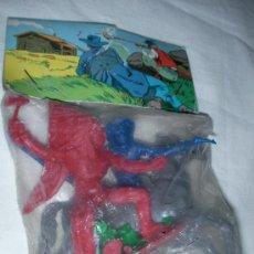 Figuras de Goma y PVC: ANTIGUO BLISTER CON INDIOS, VAQUEROS Y OTROS NUEVO. Lote 27140636