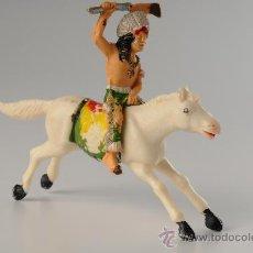 Figuras de Goma y PVC: INDIO A CABALLO EN PLÁSTICO, DE REAMSA, AÑOS 1960. Lote 27174091