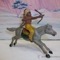 Figuras de Goma y PVC: FIGURA INDIO A CABALLO EN GOMA DE REAMSA - INDIO DE REAMSA. Lote 27408310