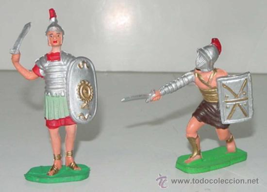 2 ANTIGUAS FIGURAS DE GLADIADOR DEL CIRCO ROMANO Y SOLDADO - TEIXIDO - TAL COMO SE VE EN LA FOTOGRAF (Juguetes - Figuras de Goma y Pvc - Teixido)