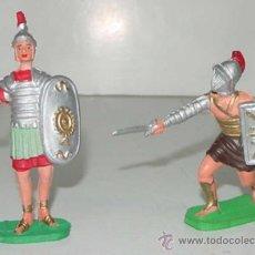 Figuras de Goma y PVC: 2 ANTIGUAS FIGURAS DE GLADIADOR DEL CIRCO ROMANO Y SOLDADO - TEIXIDO - TAL COMO SE VE EN LA FOTOGRAF. Lote 27485477
