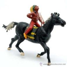 Figuras de Goma y PVC: INDIO A CABALLO GAMA GOMA AÑOS 50. Lote 27953645