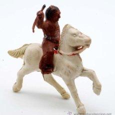 Figuras de Goma y PVC: INDIO A CABALLO CAPELL GOMA AÑOS 50. Lote 27962800