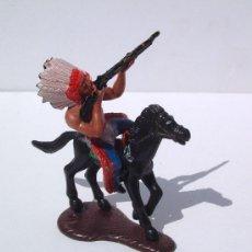 Figuras de Goma y PVC: SOTORRES INDIO FUSIL APUNTA+CABALLO NEGRO CON BASE ESPECIAL. REF.2748. Lote 28457857