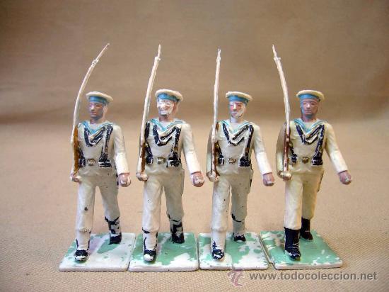 4 FIGURAS DE PLASTICO, DESFILE REAMSA, 1970S, ARMADA, MARINA ESPAÑOLA (Juguetes - Figuras de Goma y Pvc - Reamsa y Gomarsa)