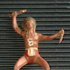 Figuras de Goma y PVC: PECH HERMANOS O TEIXIDO: JINETE INDIO EN GOMA VARIANTE 1 AÑOS 50. Lote 29017398