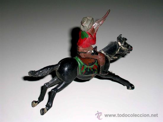 Figuras de Goma y PVC: Figura Oeste cowboy vaquero a caballo, fabricado en goma por la casa Reamsa, original años 50. - Foto 3 - 29095233