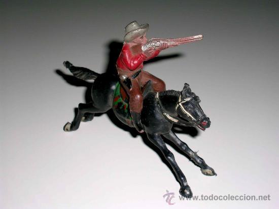 Figuras de Goma y PVC: Figura Oeste cowboy vaquero a caballo, fabricado en goma por la casa Reamsa, original años 50. - Foto 4 - 29095233