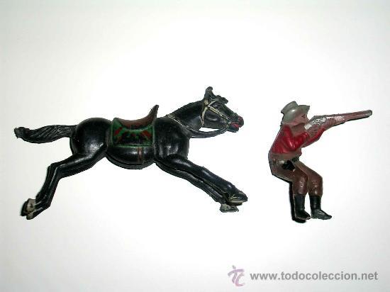 Figuras de Goma y PVC: Figura Oeste cowboy vaquero a caballo, fabricado en goma por la casa Reamsa, original años 50. - Foto 5 - 29095233